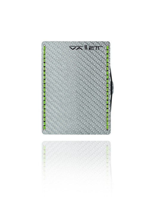 Vallett Carbon Fiber Wallet - Neon Green Stitching