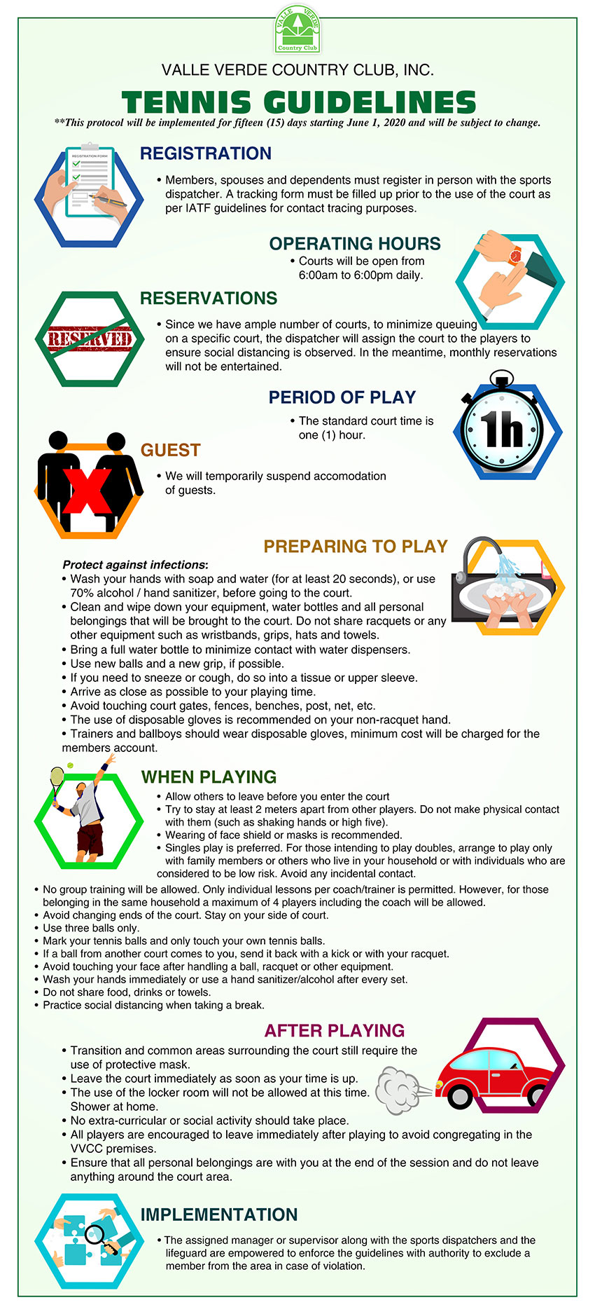 Tennis Guidelines under GCQ