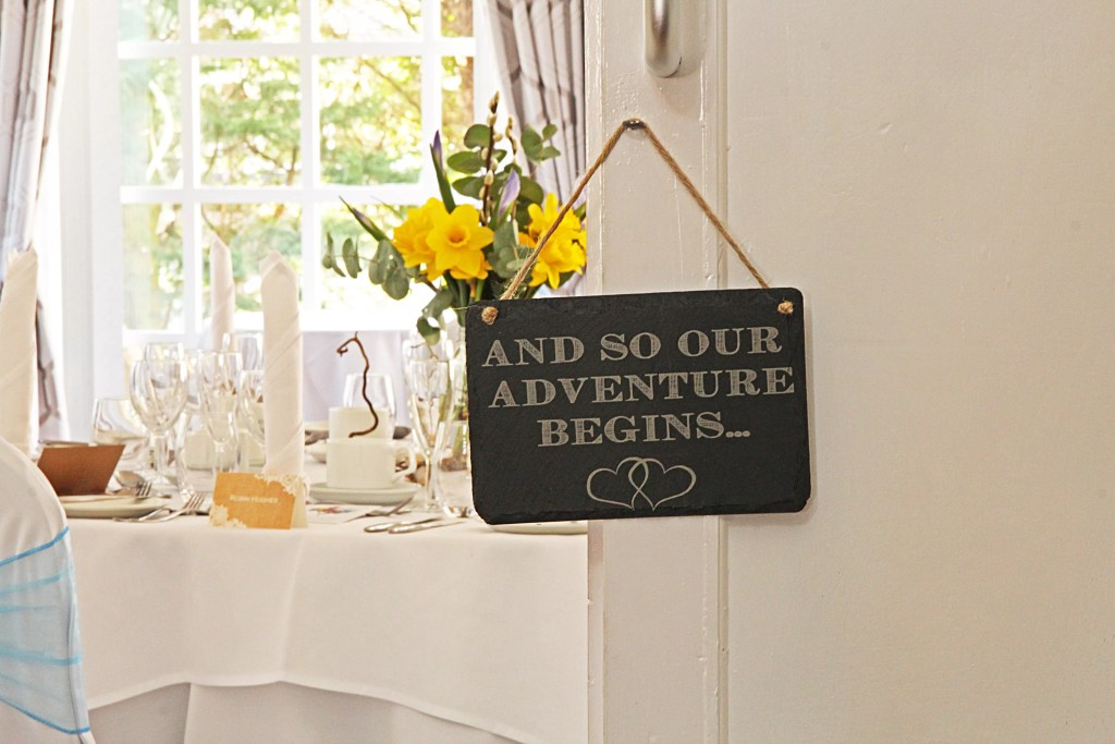 'And So Our Adventure Begins' Welsh Slate Hanging Sign