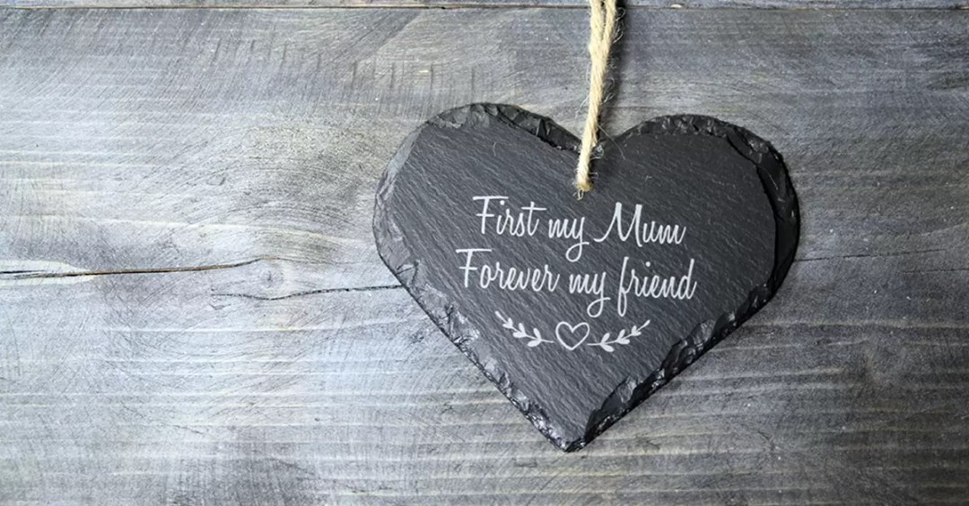 Mother's Day Welsh Slate Heart Gift