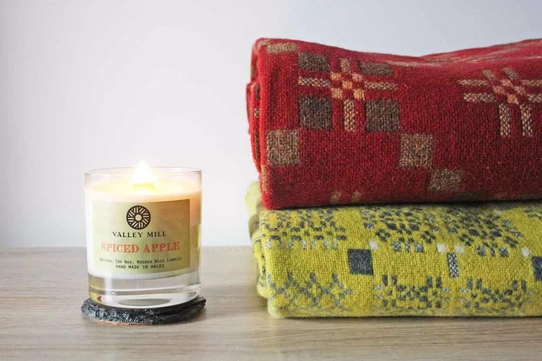 Melin Tregwynt St Davids Cross Chestnut & Knot Garden Gorse Throws & Spiced Apple Wood Wick Candle