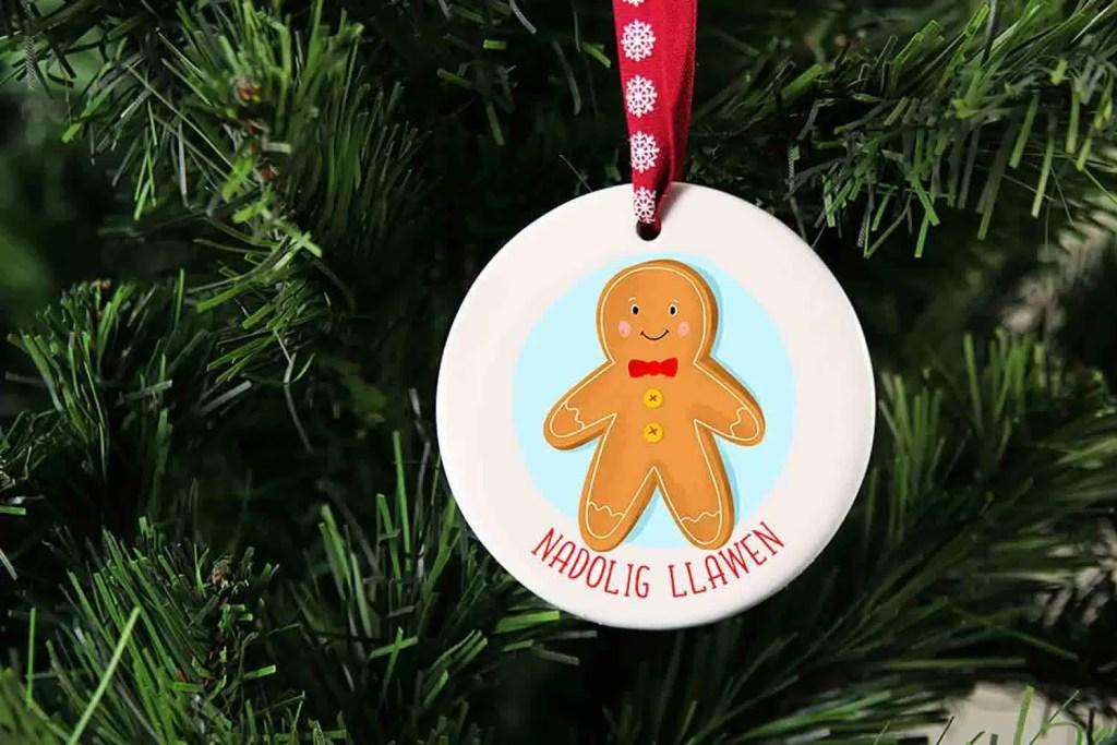Gingerbread Man Nadolig Llawen Ceramic Christmas Decoration