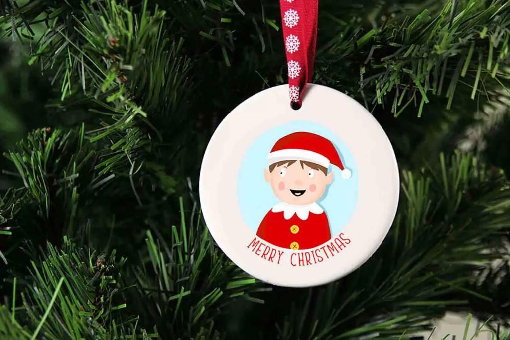 Boy Elf Merry Christmas Ceramic Christmas Tree Decoration