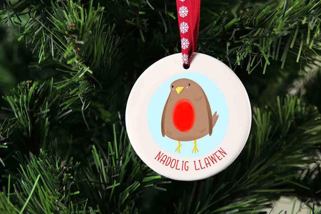 Robin Nadolig Llawen Ceramic Christmas Tree Decoration