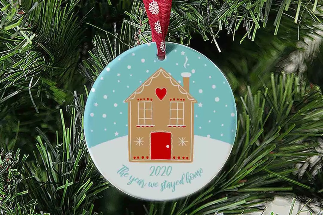 2020 The Year We Stayed Home Gingerbread House Ceramic Christmas Tree Decoration