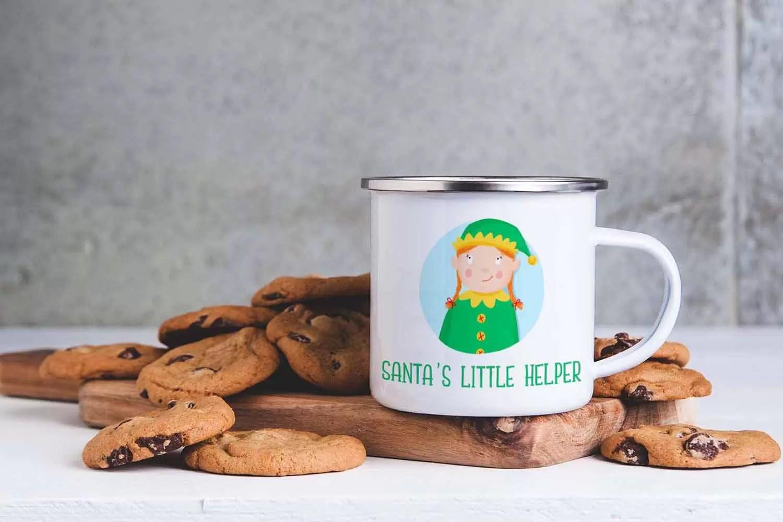 Girl Santa's Little Helper Christmas Enamel Mug For Children