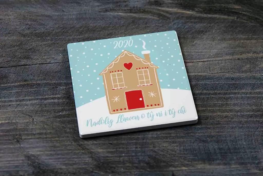 Nadolig Llawen O Ty Ni I TY Chi Ceramic Christmas Coaster