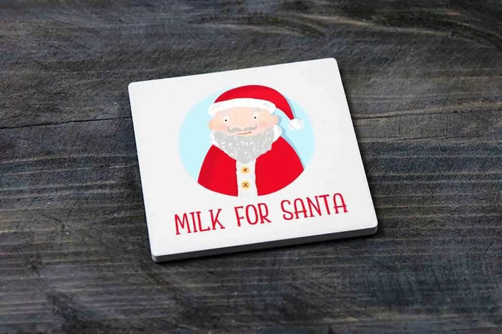 Milk For Santa Christmas Eve Ceramic Coaster Gift