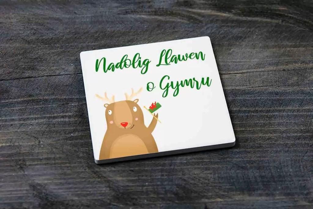 Nadolig Llawen o Gymru Christmas Ceramic Coaster Gift