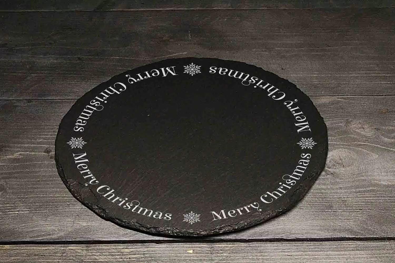 Merry Christmas Christmas Welsh Slate Cheeseboard Gift