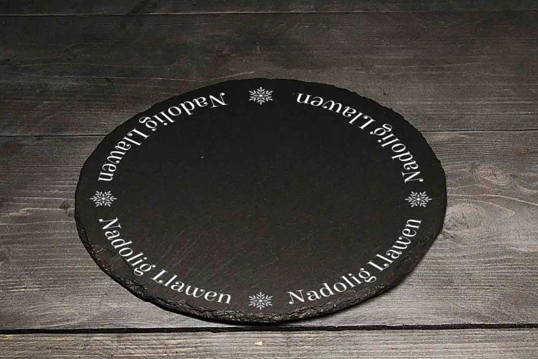 Nadolig Llawen Christmas Welsh Slate Cheeseboard Gift