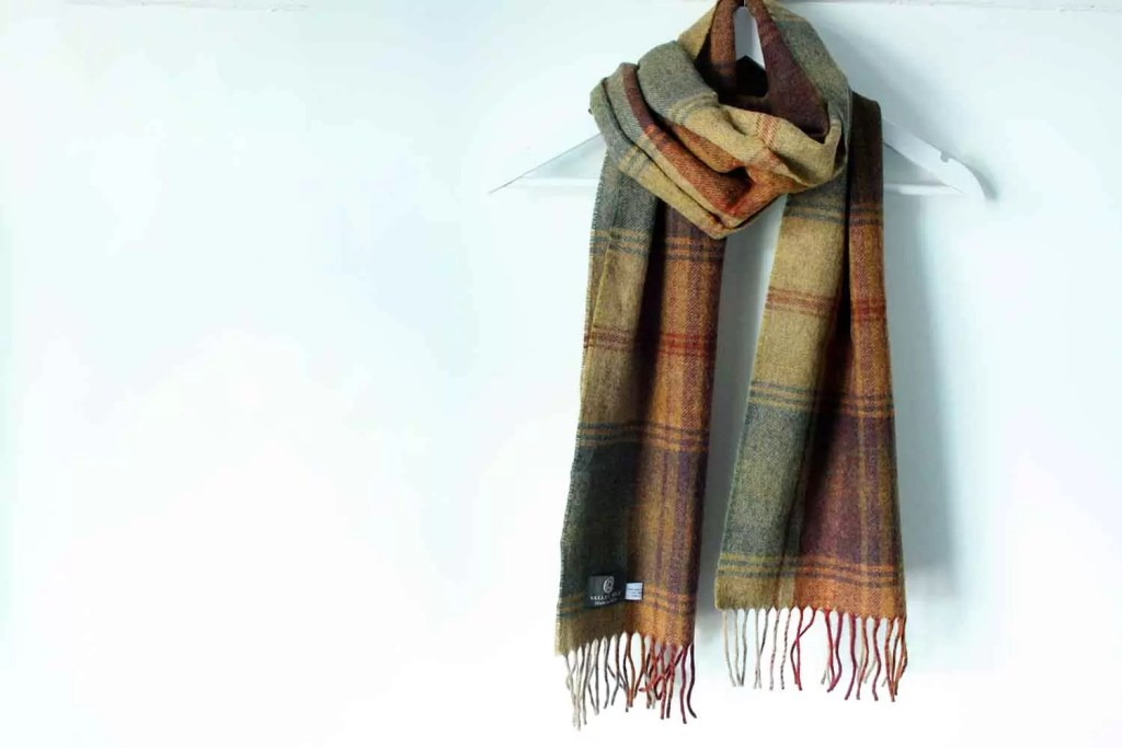 Welsh Woollen Lambswool Checked Scarf- Wrap Up Warm For Winter Walks
