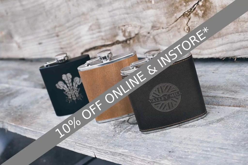 June offer of 10% off personalised hip flasks valid until Sat 19th June 2021 17:00