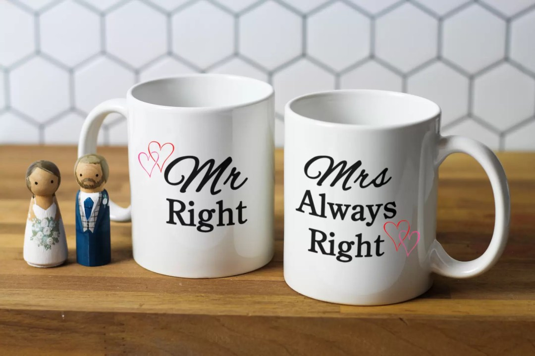 Set of personalised wedding gift mugs. Mr and Mrs Right.