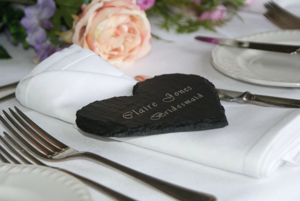 Welsh slate heart make a unique individual wedding table name setting and personalised gift