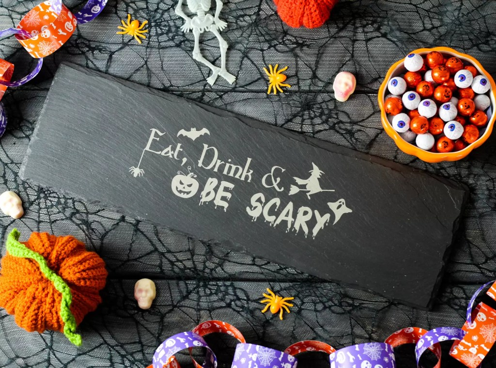 Halloween Welsh slate grazing platter that says eat, drink & be scary