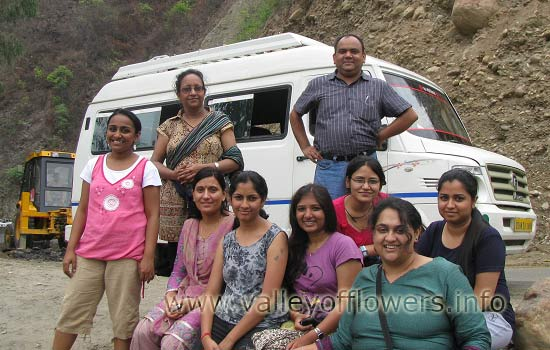 Our 9th July, 2012 group on the way from Haridwar to Govindghat.