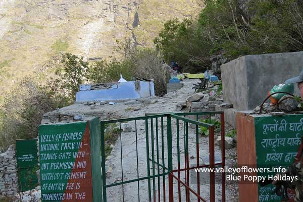Valley of flowers entry gate in May, 2013. You can see the gate and forest officer's check post has been swept away by glaciers.
