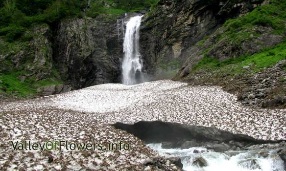 Waterfall in front of Valley of Flowers entry gate