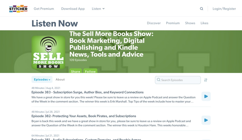 Sell More Books Show on Stitcher