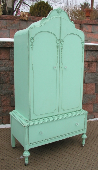 Aqua Armoire Shabby Vintage Chic Painted Furniture