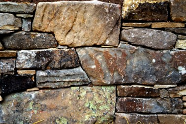 Dry stacked mortared fieldstone
