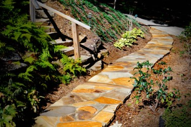Brown Crab Orchard Flagstone Pathway mortared to a new concrete slab