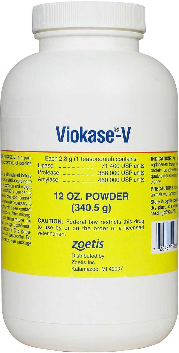 Viokase-V Powder for Dogs Cats Zoetis Animal Health - Safe ...