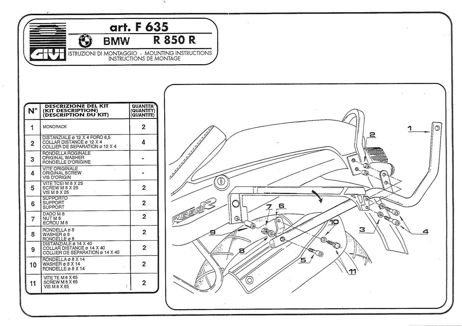 Givi Attacco Posteriore Bauletto Specifico Per Bmw R850r