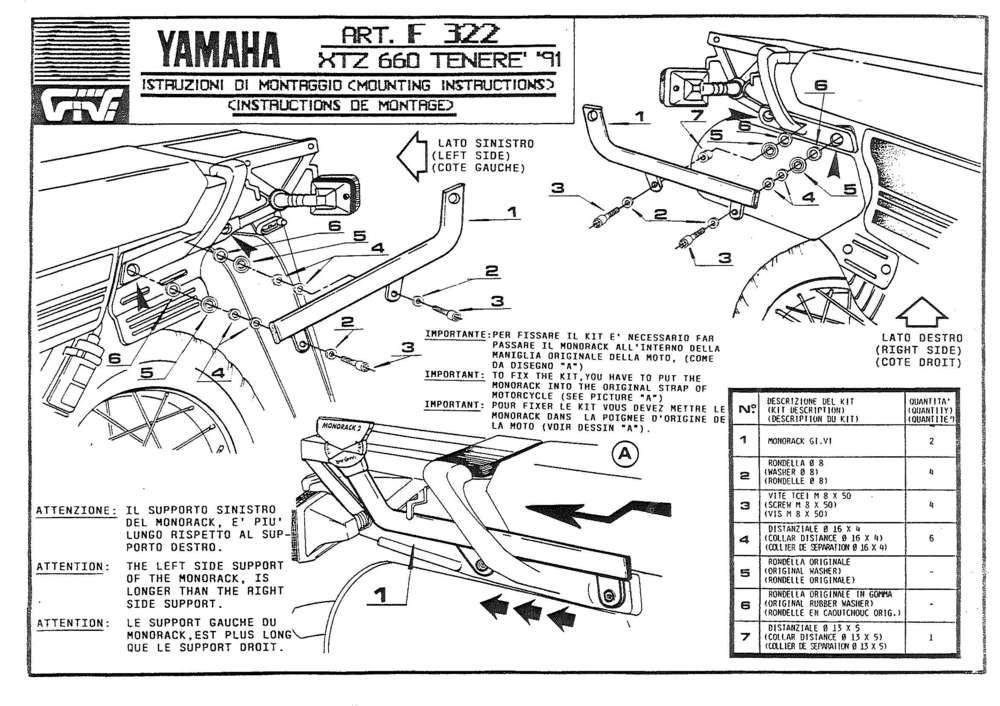 GIVI Attacco posteriore specifico per bauletto Yamaha XTZ