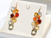 Mexican Fire Opal Dangle Gemstone Earrings, Statement ...