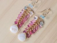 Pink Sapphire and Moonstone Dangle Statemenet Earrings ...