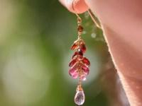 Red Garnet Dangle Statement Earrings in Gold Filled - Valltasy