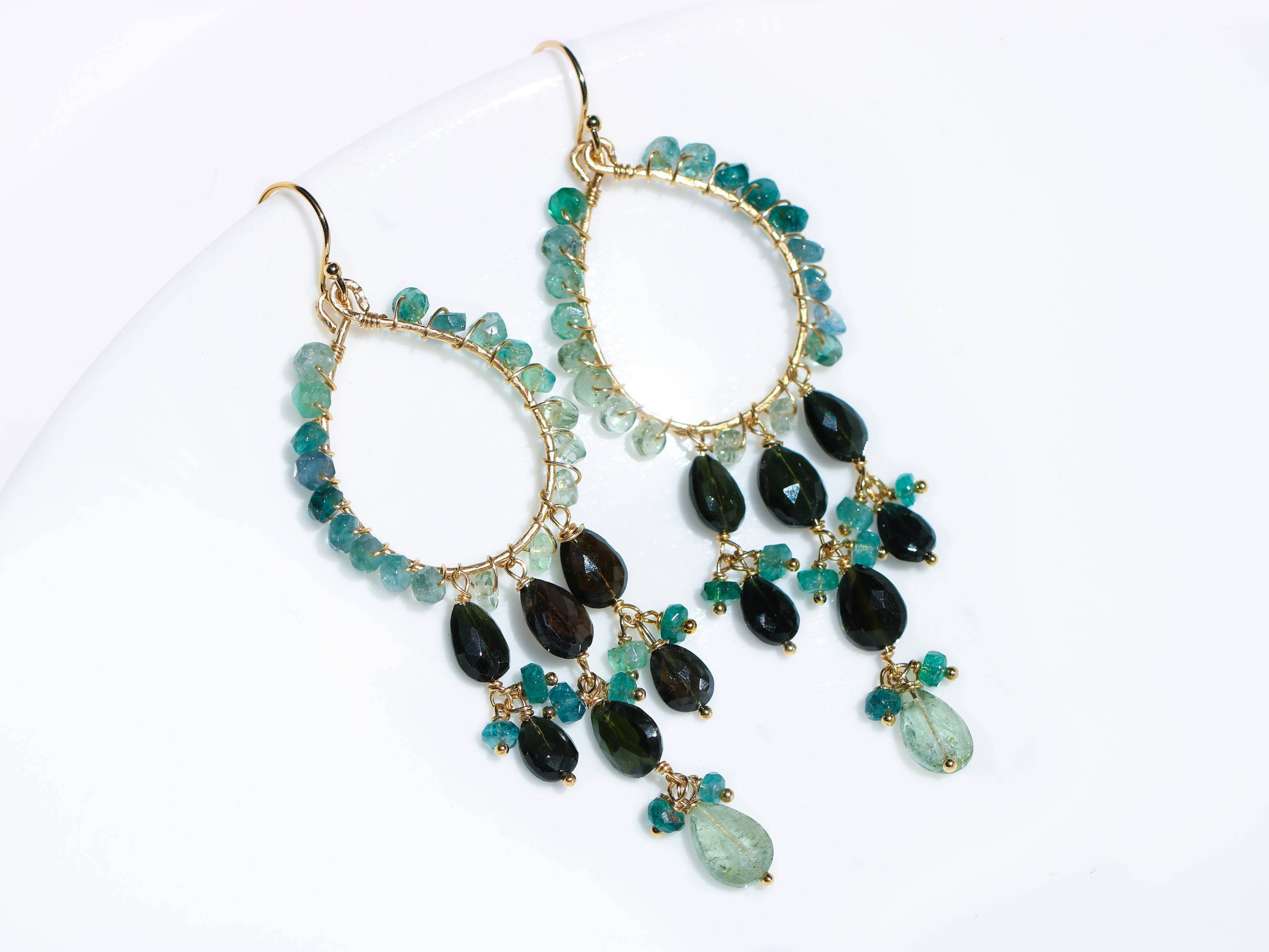 Blue Tourmaline and Black Tourmaline Chandelier Earrings