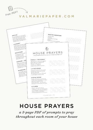 House prayers worksheet • Val Marie Paper
