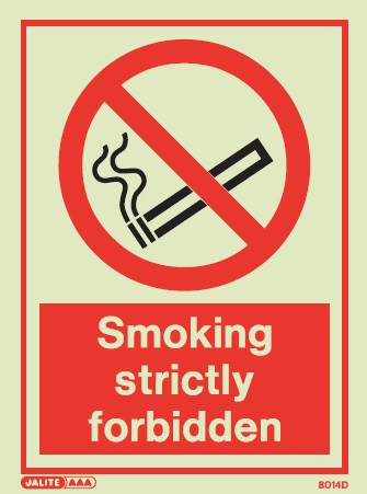 8014D Jalite Smoking Strictly Forbidden Sign