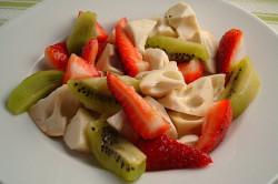 Cherimoya, Kiwi, and Strawberry Salad