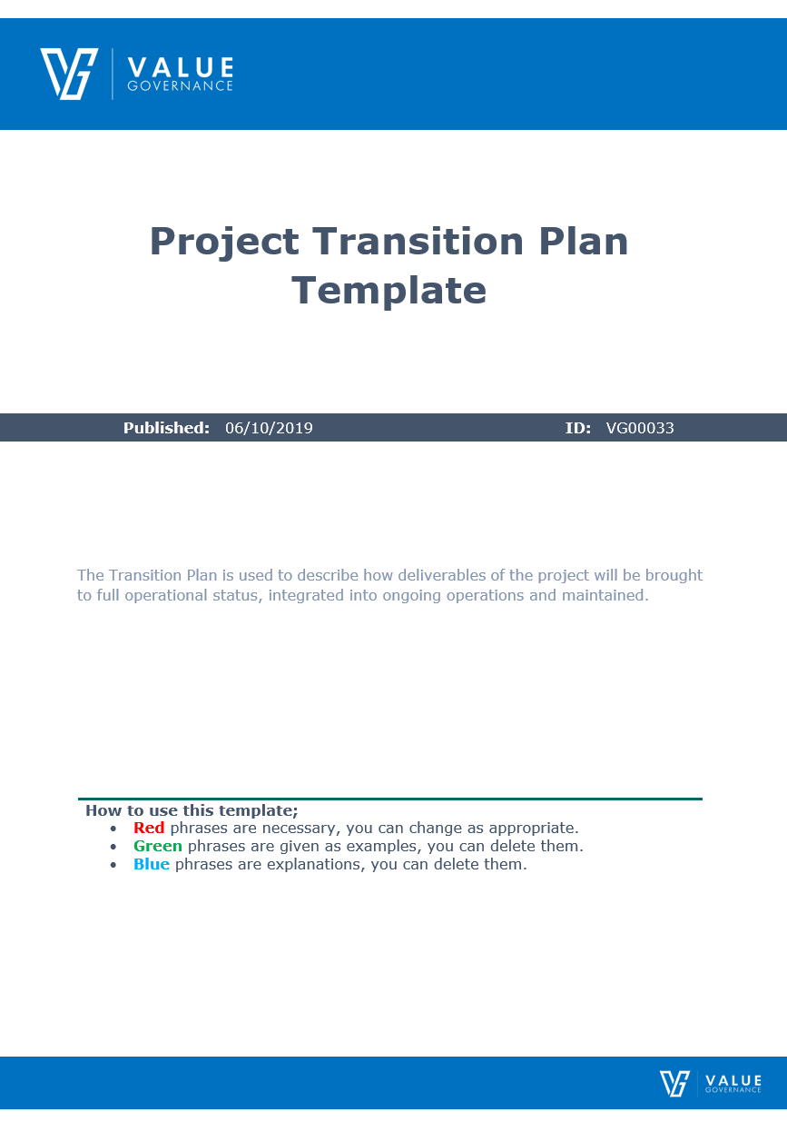 Project Transition Plan Template   Value Governance Research