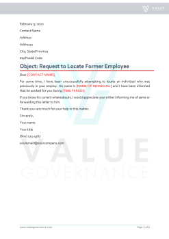 Request to Locate Former Employee