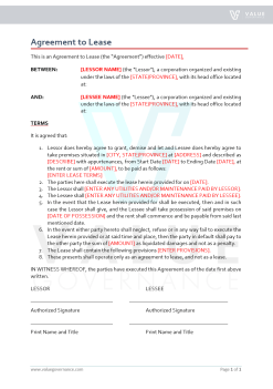 Agreement to Lease