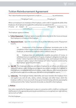 Tuition Reimbursement Agreement