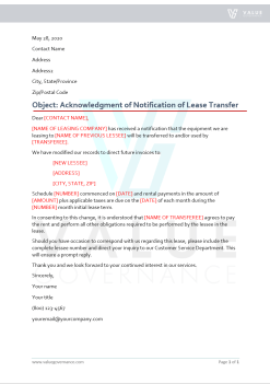 Acknowledgment of Notification of Lease Transfer