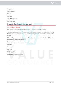 Collection Letter to Resubmit the Statement