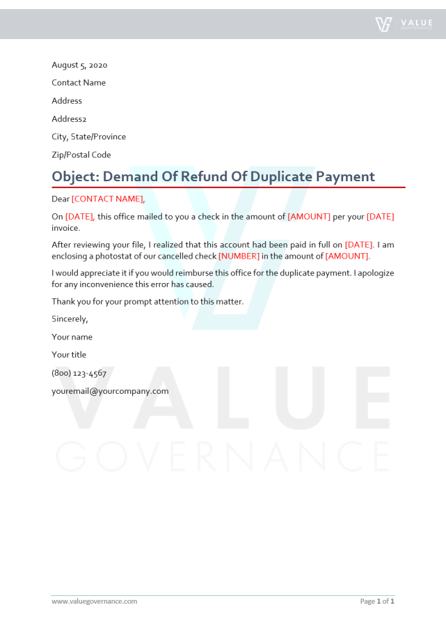 Request for Refund of Duplicate Payment