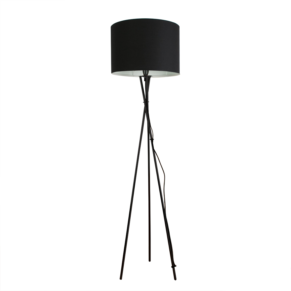 Modern Gloss Black Tripod Floor Lamp Drum Cylinder Shade