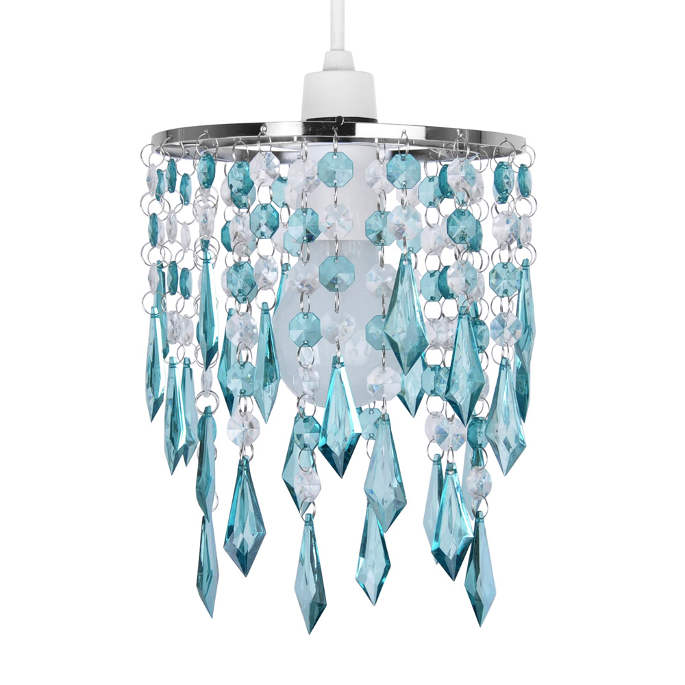 Teal Blue / Green Acrylic Crystal Ceiling Light Lamp Shade