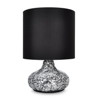 Modern Crackled Mirror Base Table / Desk Lamp Light Black ...