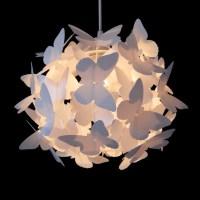 Girls Pretty White Butterfly Ceiling Pendant Light Lamp ...