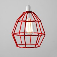 Red Metal Wire Frame Cage Ceiling Pendant Light Lamp Shade
