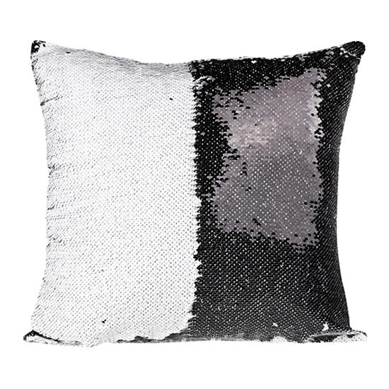 flip sequin pillow cover black white